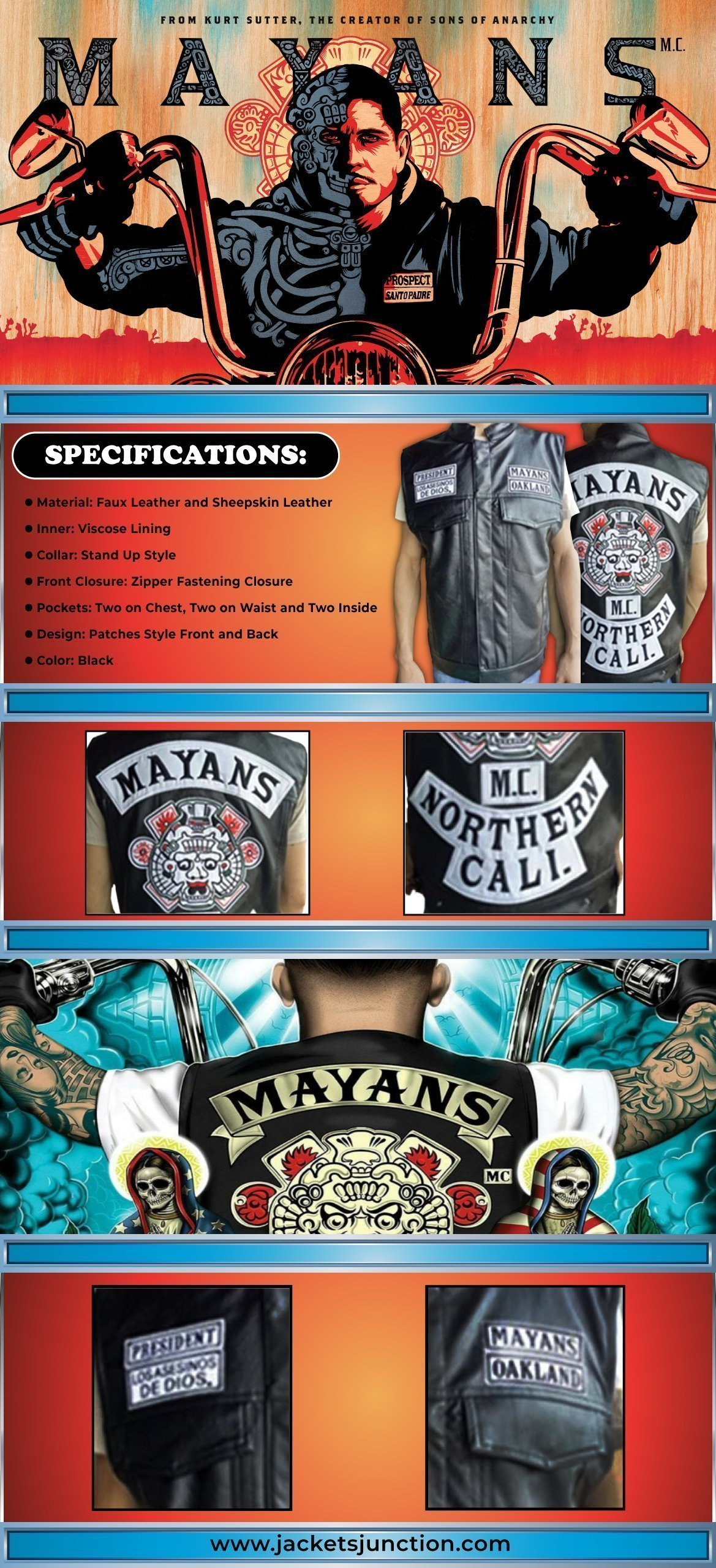 Angel Reyes Mayans M.C. Clayton Cardenas Leather Vest Infographic