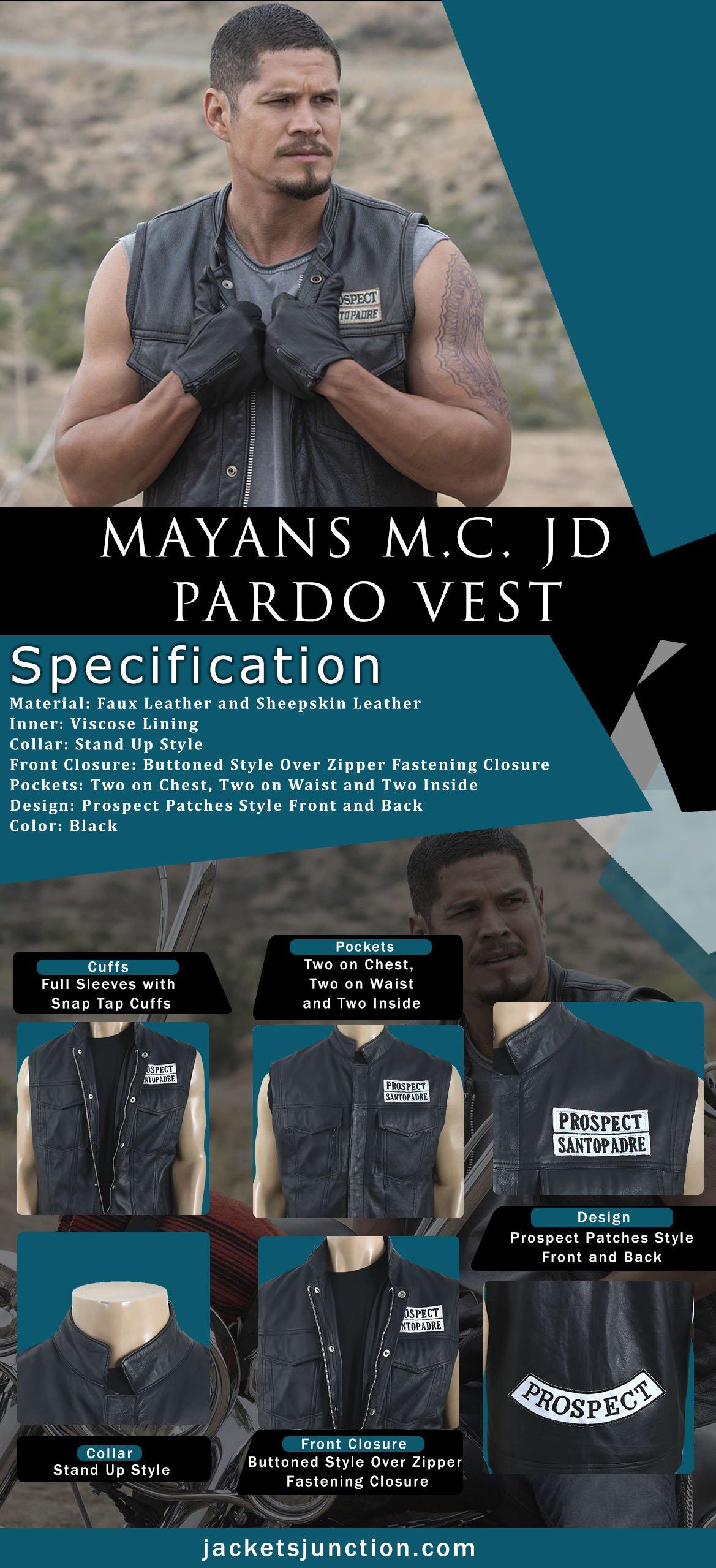 Ezekiel EZ Reyes Mayans M.C. JD Pardo Leather Vest Infographic