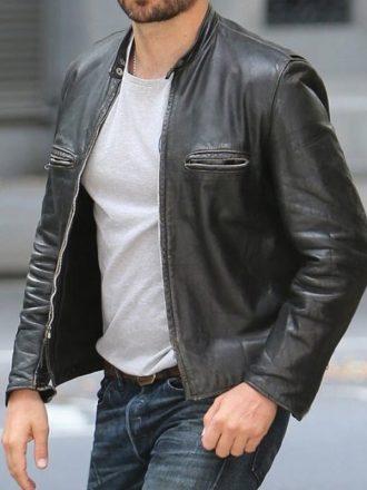 Adams John Burnt Bradley Cooper Leather Jacket Black 01