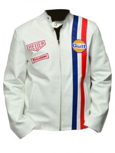 Le Mans Steve McQueen Leather Jacket White Front