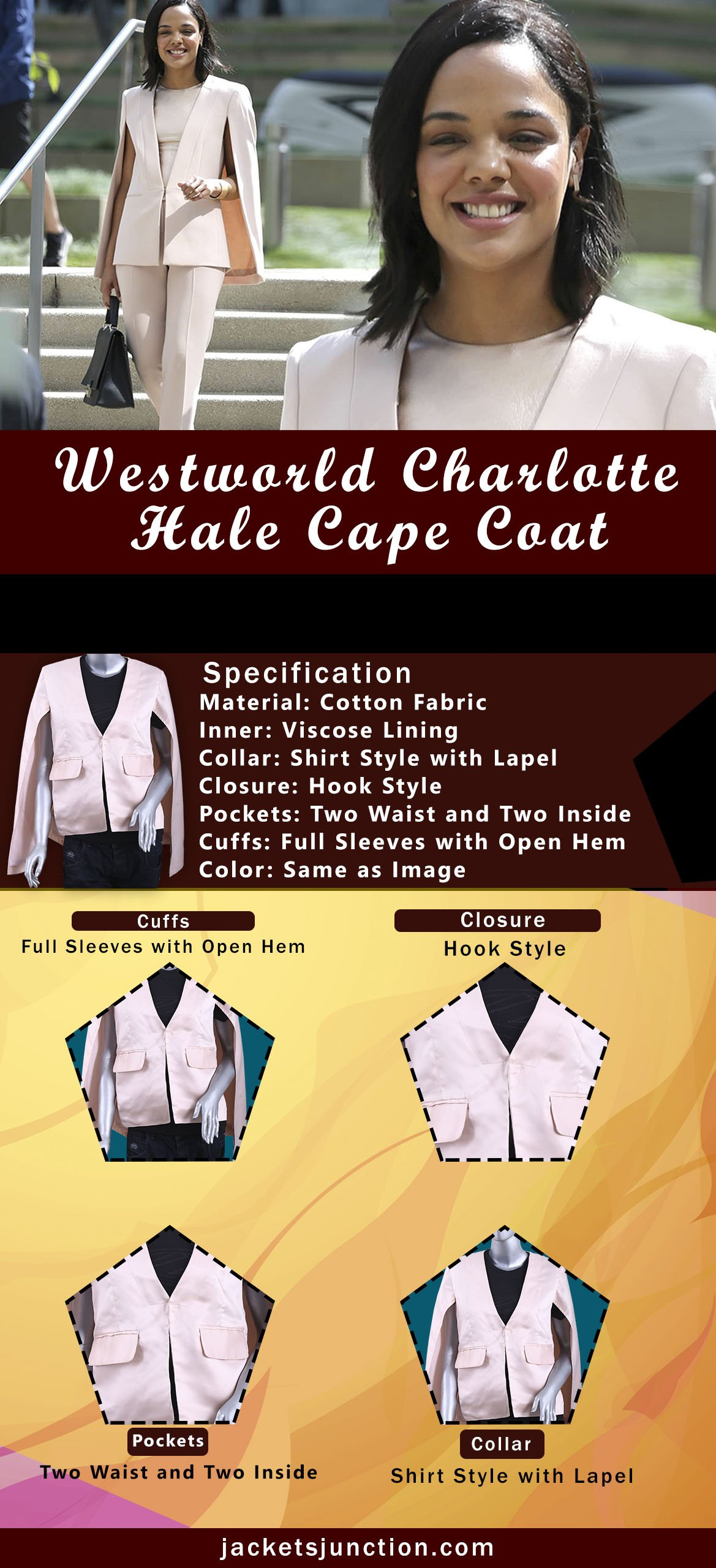 Westworld Charlotte Hale Cape Coat Infographic