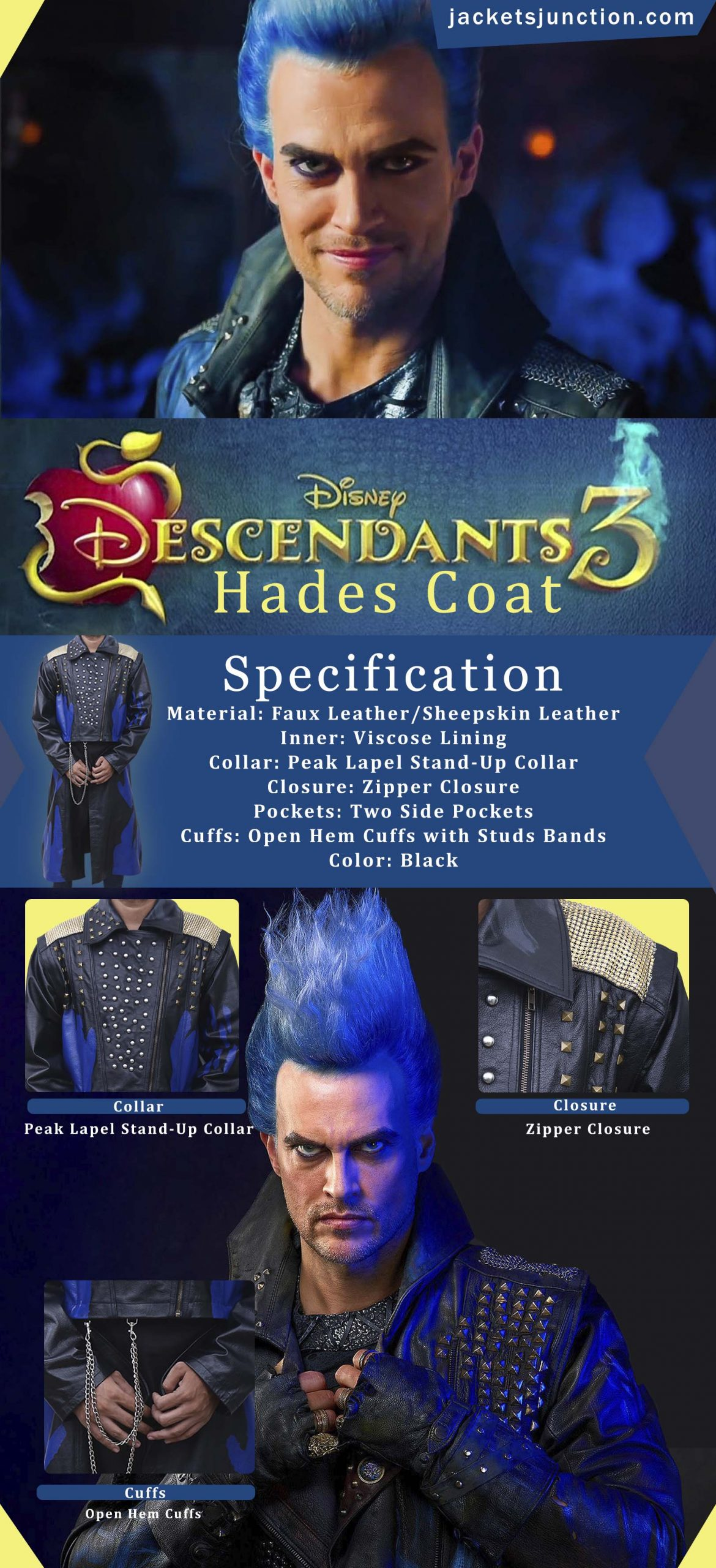 Descendants 3 Hades Black Leather Coat Infographic